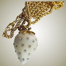 Stunning KJL White Strawberry Rhinestone Pendent & Chain