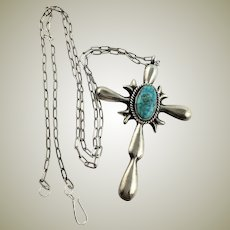 Amazing Native American Handmade Sand Cast Sterling Cross & Turquoise Necklace