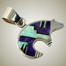 Beautiful Handmade Native American Multi Gem & Sterling Bear Pendent