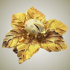 Swarovski White Ladybug Brooch on 22K Gold Plated Background Brooch