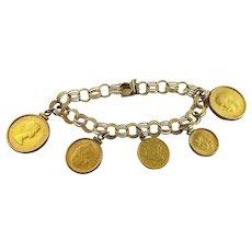 Gold Multi 14 K Gold Coin Charm Bracelet