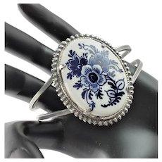 Pretty Blue Willow Porcelain Bangle Bracelet