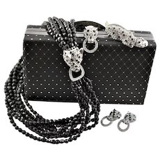 Spectacular KJL Signed Entire Set Of Panther Jewelry & Purse