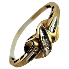 Sweet 10K Gold Channel Set Baguette Diamond Ring