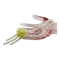 Handmade White Cultured Pearls & Yellow Quartz Necklace