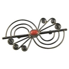 Beautiful Native American Sterling & Coral Brooch