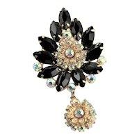 Spectacular Juliana Black Rhinestone Sparkly Brooch/Pendent