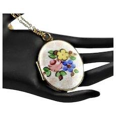 Lovely Vintage Marked Guilloche Enamel Locket Necklace