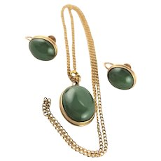 Spectacular 10K Gold & Jadeite Necklace & Earrings