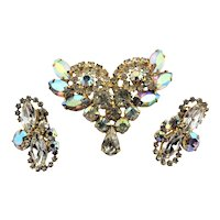 Spectacular Juliana Blue Rhinestone Pin & Earrings Set