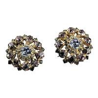 Amazing Signed Blue Rhinestone Hobe Earrings