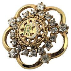 Enamel R Green & White Gold Filled Brooch