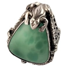 Antique Sterling Frog Prong Peking Glass Ring