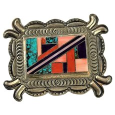 Herman Smith Estate Find Signed Inlay Native American Brooch