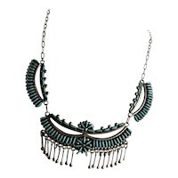 Outstanding Signed Needlepoint Zuni Sterling Necklace