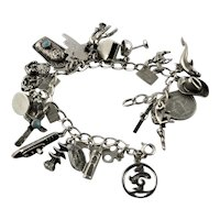 Sterling Vacation Twenty Different Charm Bracelet