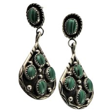 Native American Malachite & Sterling Earrings
