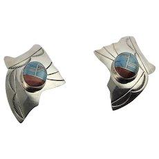 Native American Inlay Sterling Earrings