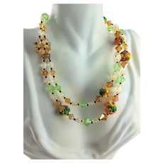 Colorful Early Plastic & Crystal Necklace
