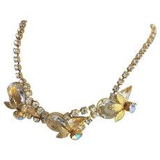 Juliana Gold Plate & Clear Rhinestone Necklace
