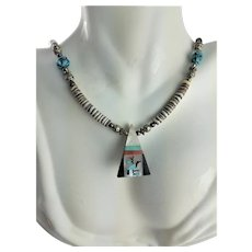 Native American Black Onyx Inlay Pendent Necklace
