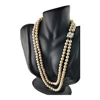 Stunning Glass Pearl Two Strand Necklace