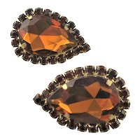 Juliana Large Golden Amber Earrings
