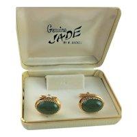 12K Gold Filled & Jade Cuff Links