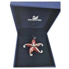 Swarovski Marked Red Glass Starfish Brooch