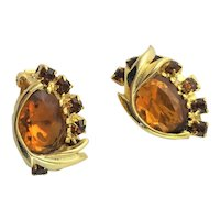 Beautiful Gold & Amber Clip Earrings