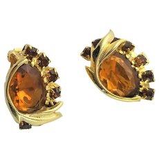 Beautiful Gold & Amber Clip Earrings