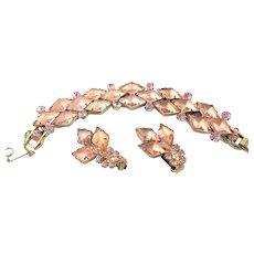 Spectacular Juliana Pink Diamond Shaped Rhinestone Set