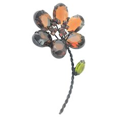 Beautiful Amber Colored Flower Brooch