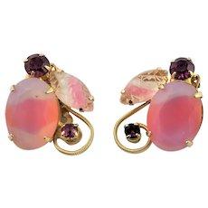 Beautiful Pink Juliana Art Glass Earrings