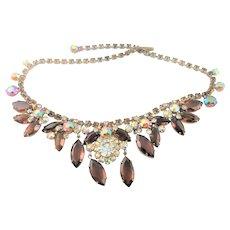 Beautiful Amber Colored Rhinestone Necklace