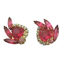 Gorgeous Juliana Pink Clip Earrings