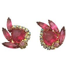 Gorgeous Juliana Pink Clip Earrings