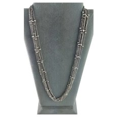 Marked Italy Seven Strand Sterling Ball Chain Necklace