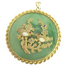 Asian influenced Jadeite & Gold Filled Pendent
