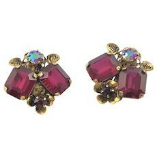 Stunning Pair Of Marked Austria Red Earrings