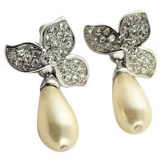 Vintage KJL White Simulated Pearl & Rhinestone Earrings