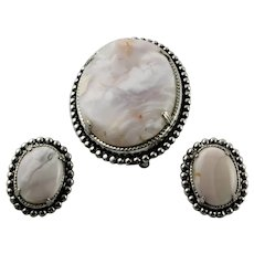 Jasper  Cabochon Brooch & Earrings