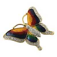 Unmarked Gold Plate & Enamel Butterfly Brooch