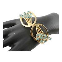 Unmarked Coro Aqua Stone Bangle Bracelet