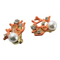KJL Coral Enamel Coral & Simulated Pearl & Rhinestone Earrings