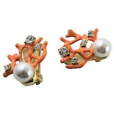 KJL Coral Enamel Coral & Simulated Pearl & Rhinestone Earrings