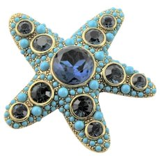 KJL Turquoise & Blue Starfish Brooch