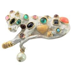 Jeweled Cat by KJL Brooch Book Piece