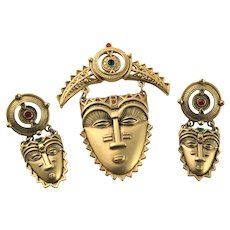 Rare Avon Mask & Earrings With Red Stones
