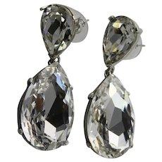 Large Crystal KJL Pierced Earrings
